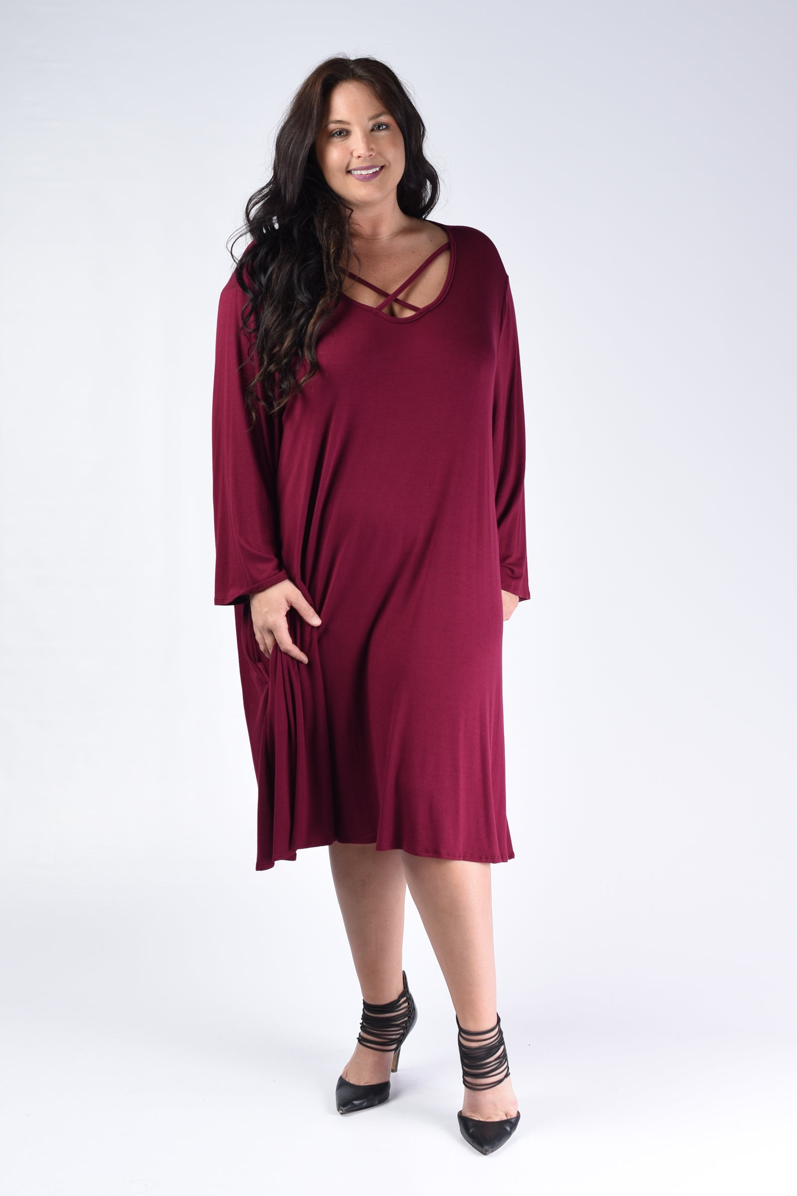 Wine Corset Bust Pocket Dress - www.mycurvystore.com - Curvy Boutique - Plus Size