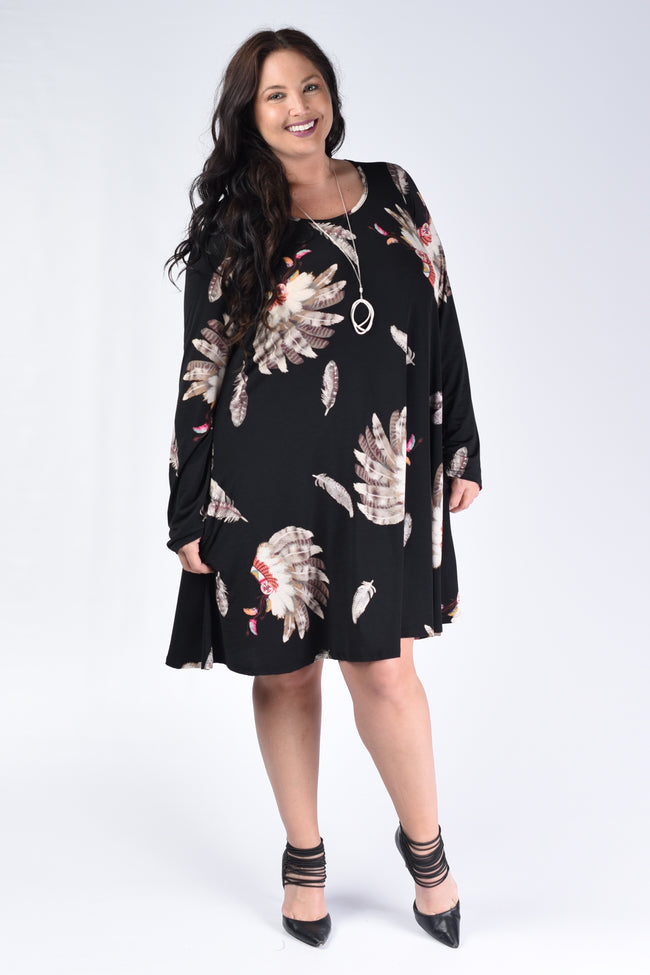 Black Feather Swing Dress - www.mycurvystore.com - Curvy Boutique - Plus Size