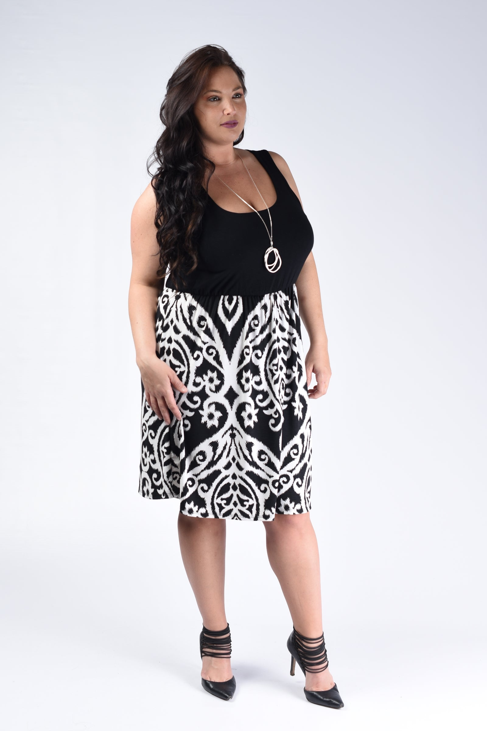 Black & White Damask Tank Dress - www.mycurvystore.com - Curvy Boutique - Plus Size