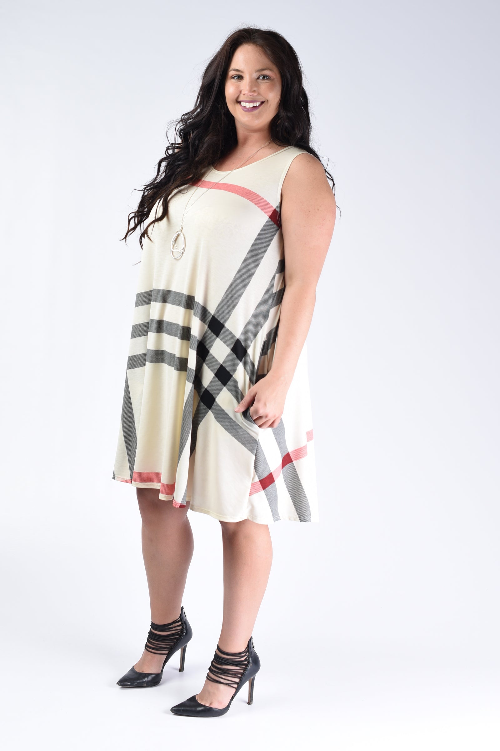 Ivory Sleeveless Burberry Plaid Print - www.mycurvystore.com - Curvy Boutique - Plus Size