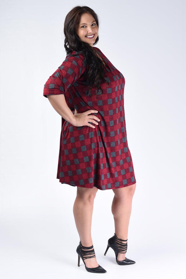 Charcoal & Burgundy Corset Checker Dress - www.mycurvystore.com - Curvy Boutique - Plus Size
