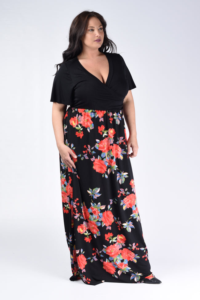 Black & Red Floral Maxi Dress - www.mycurvystore.com - Curvy Boutique - Plus Size
