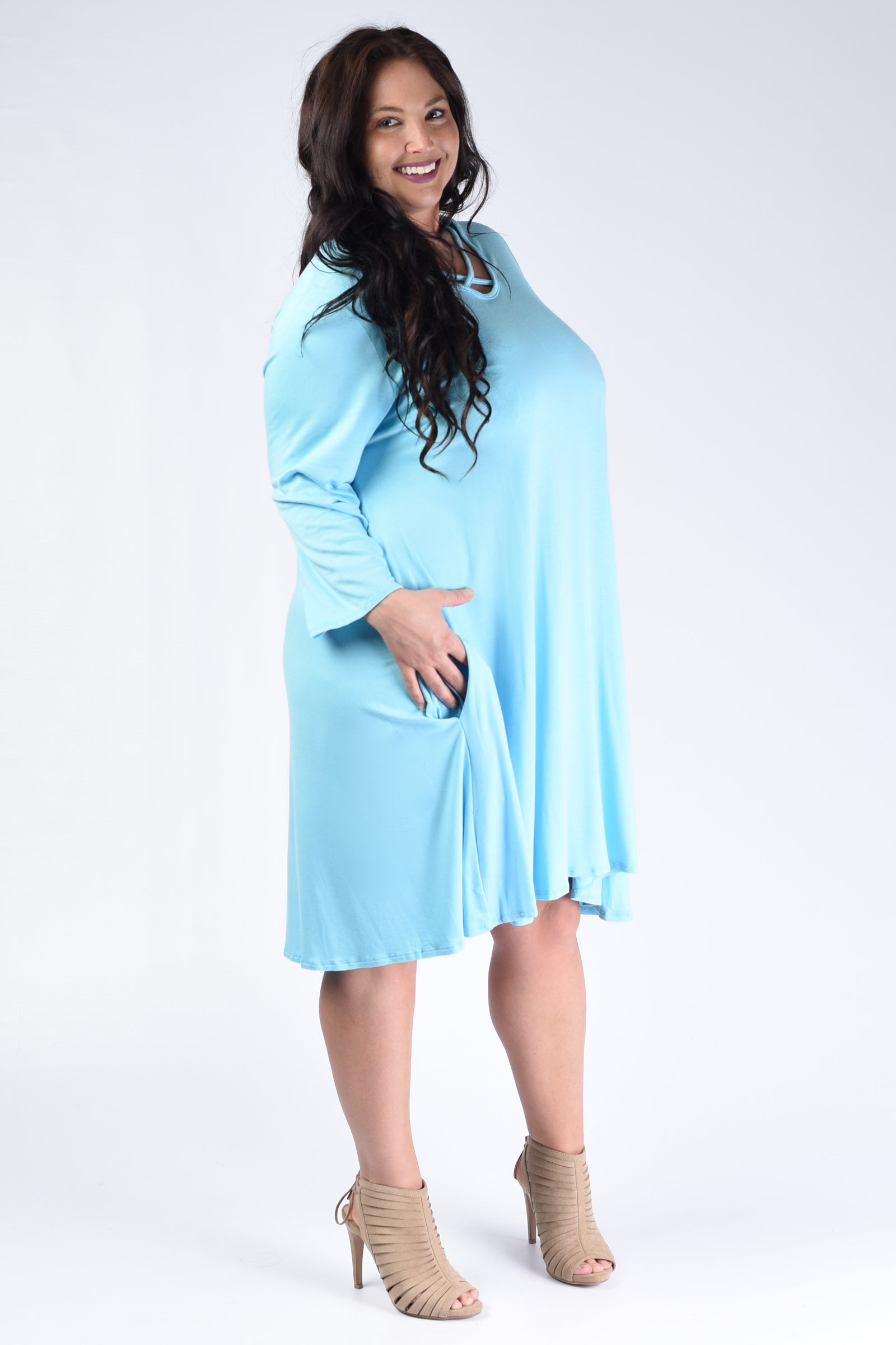 Aqua Corset Bust Pocket Dress - www.mycurvystore.com - Curvy Boutique - Plus Size