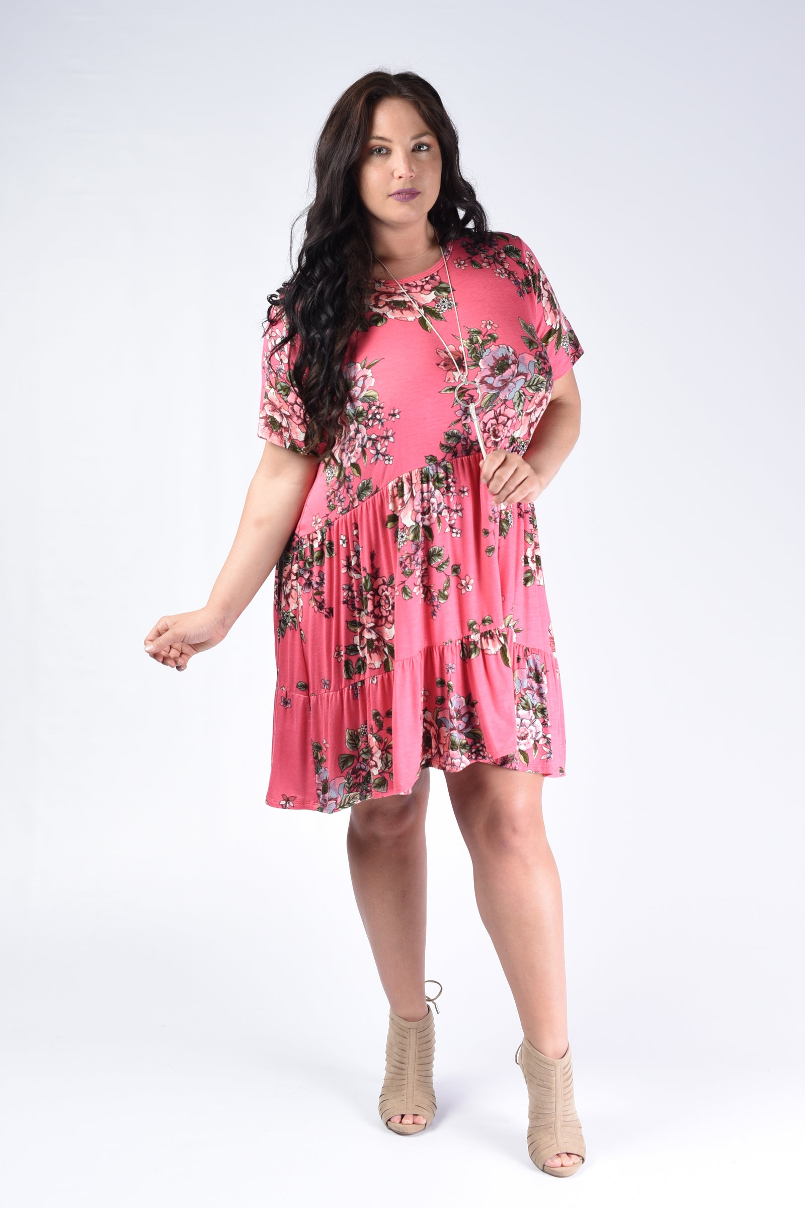 Pink Pleated Floral Tunic