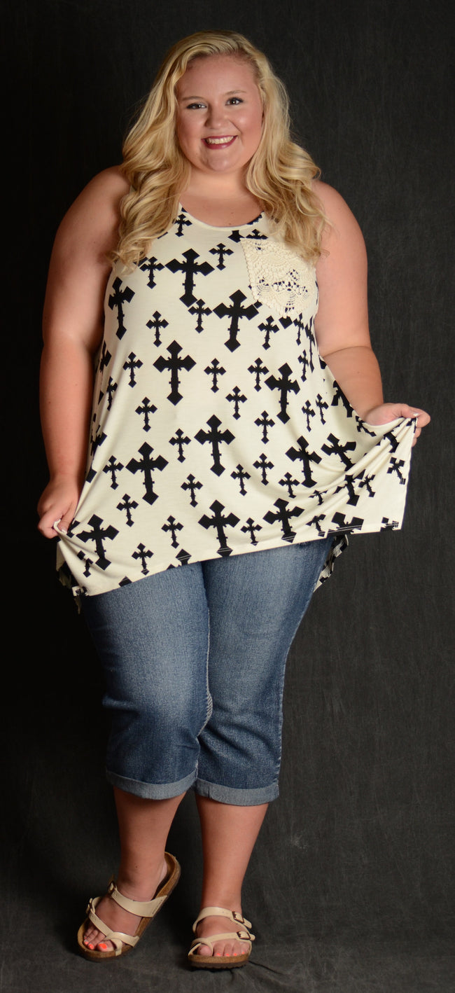 Ivory & Black Cross Tank - www.mycurvystore.com - Curvy Boutique - Plus Size