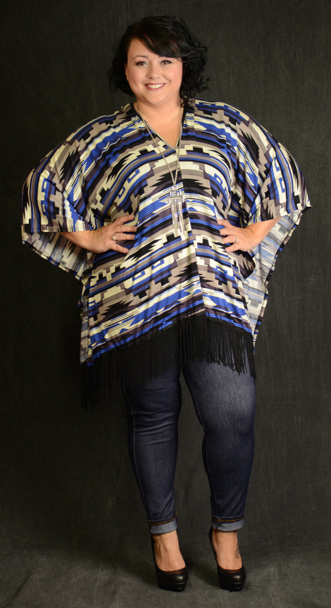 Royal Blue Fringe Top - www.mycurvystore.com - Curvy Boutique - Plus Size