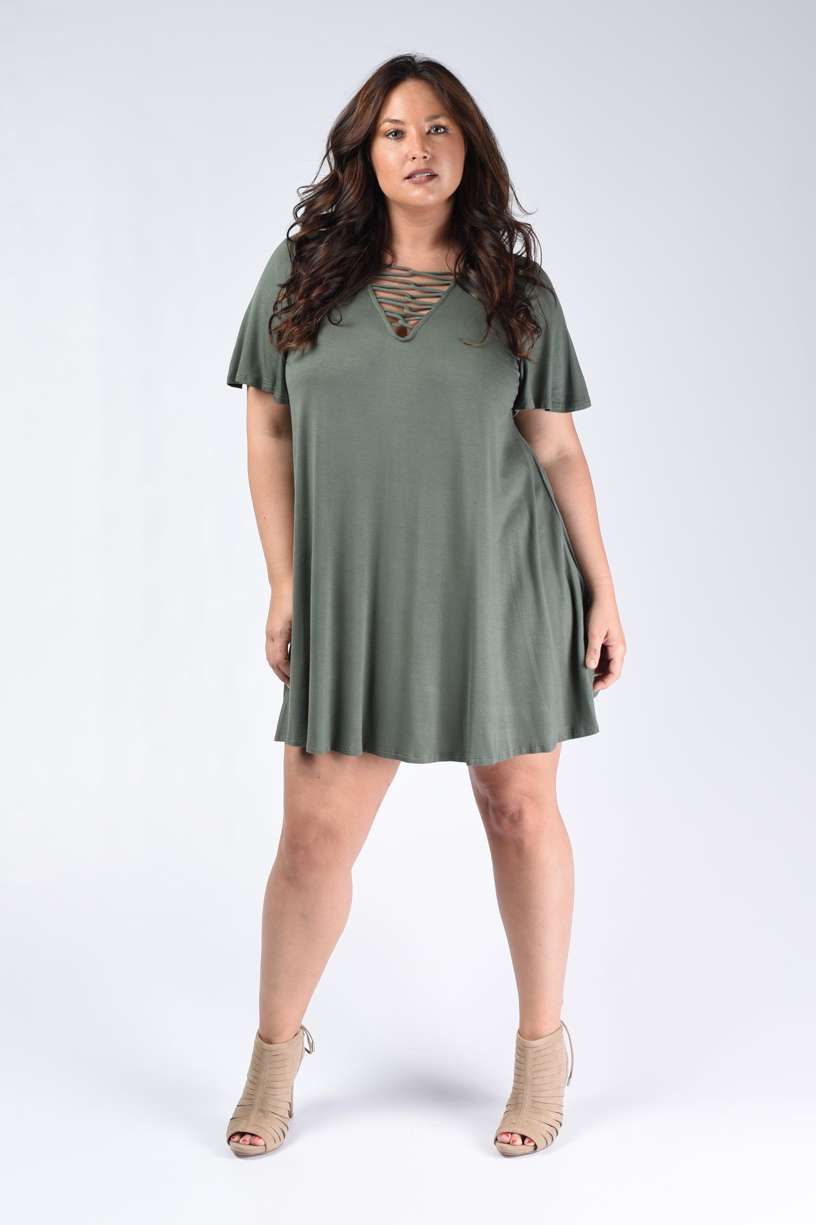 Olive Corset Tunic Top