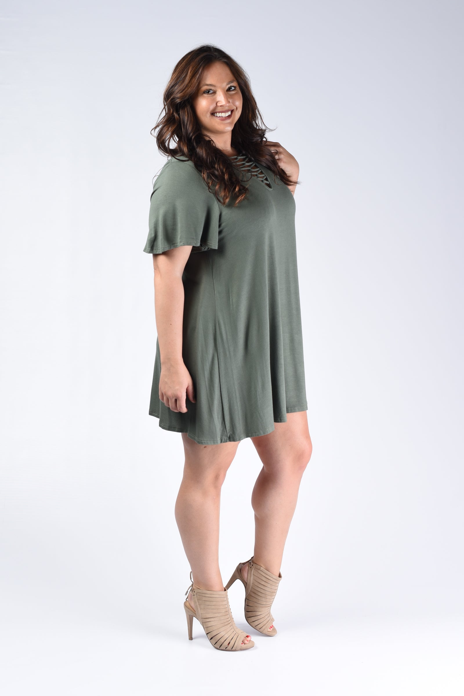 Olive Corset Tunic Top - www.mycurvystore.com - Curvy Boutique - Plus Size