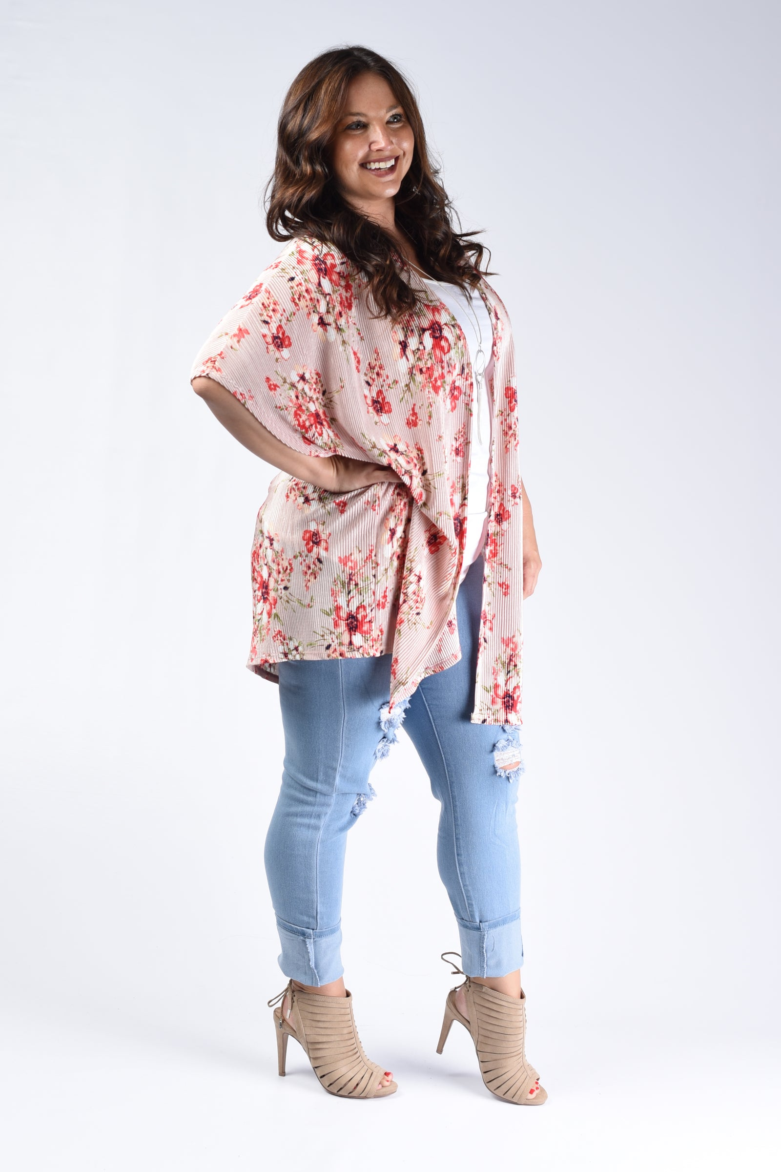 Rosette Pink Floral Pleated Cardigan