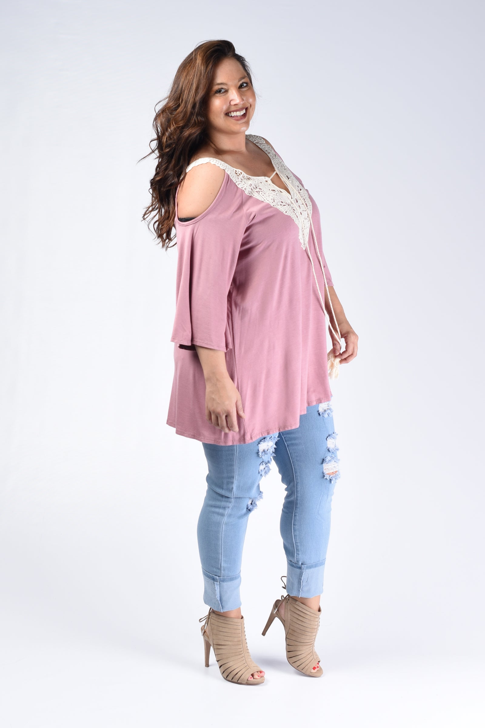 Dusty Pink & Crochet Open Shoulder Top - www.mycurvystore.com - Curvy Boutique - Plus Size