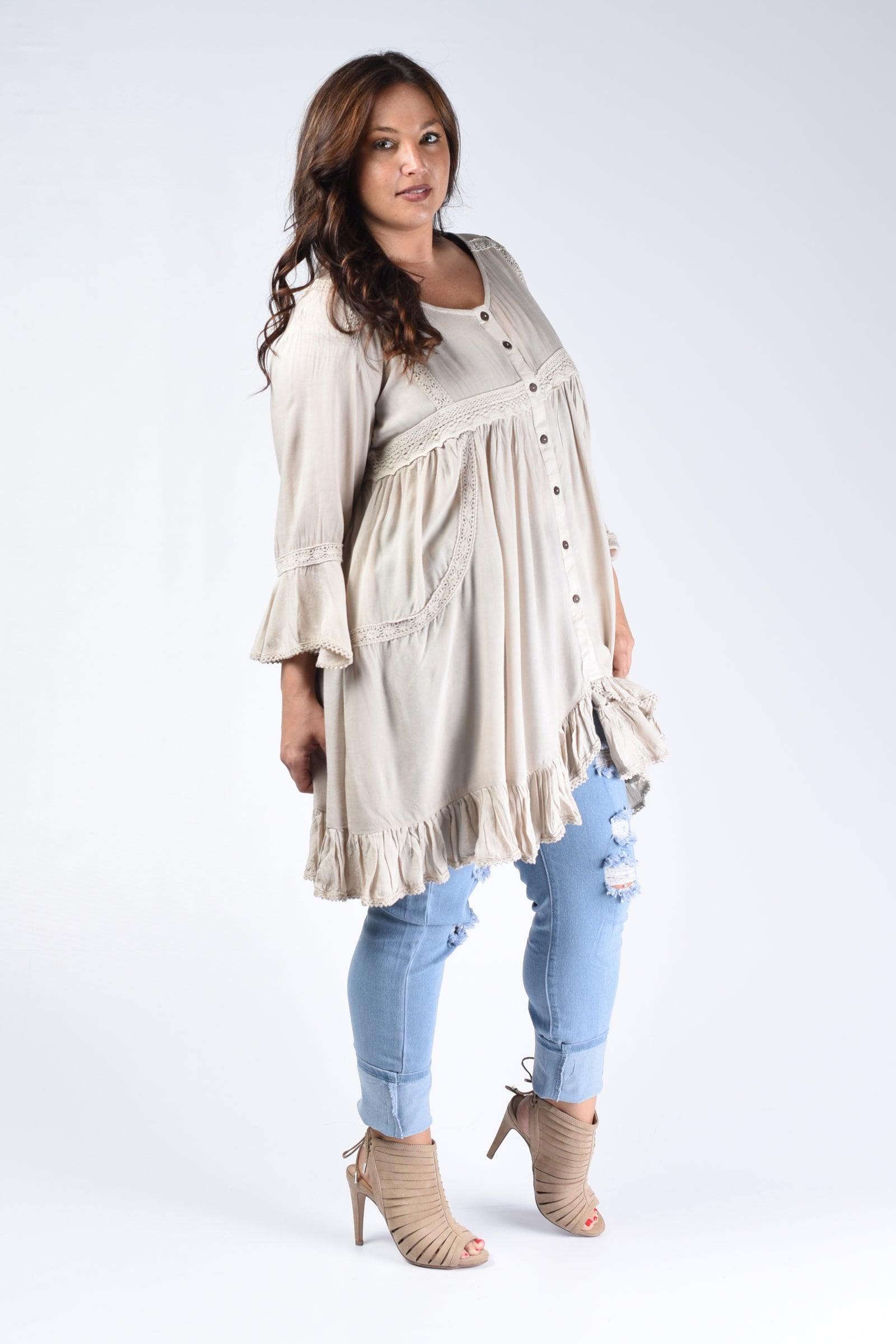 Sand Button Down Tunic Top
