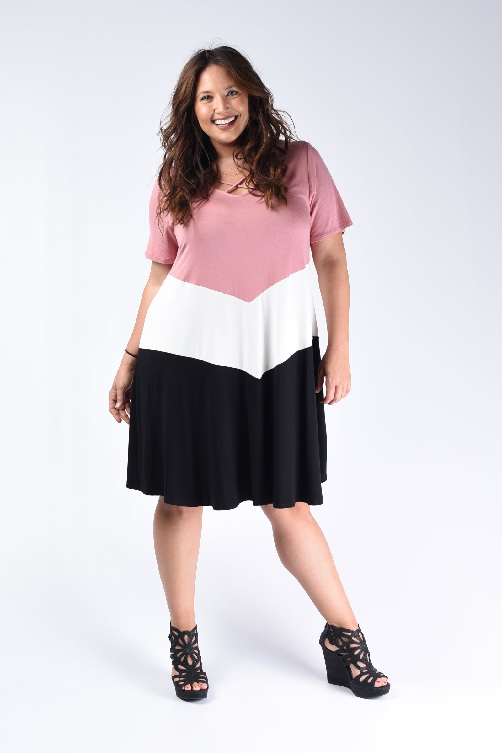 Dusty Rose Color Block Dress - www.mycurvystore.com - Curvy Boutique - Plus Size