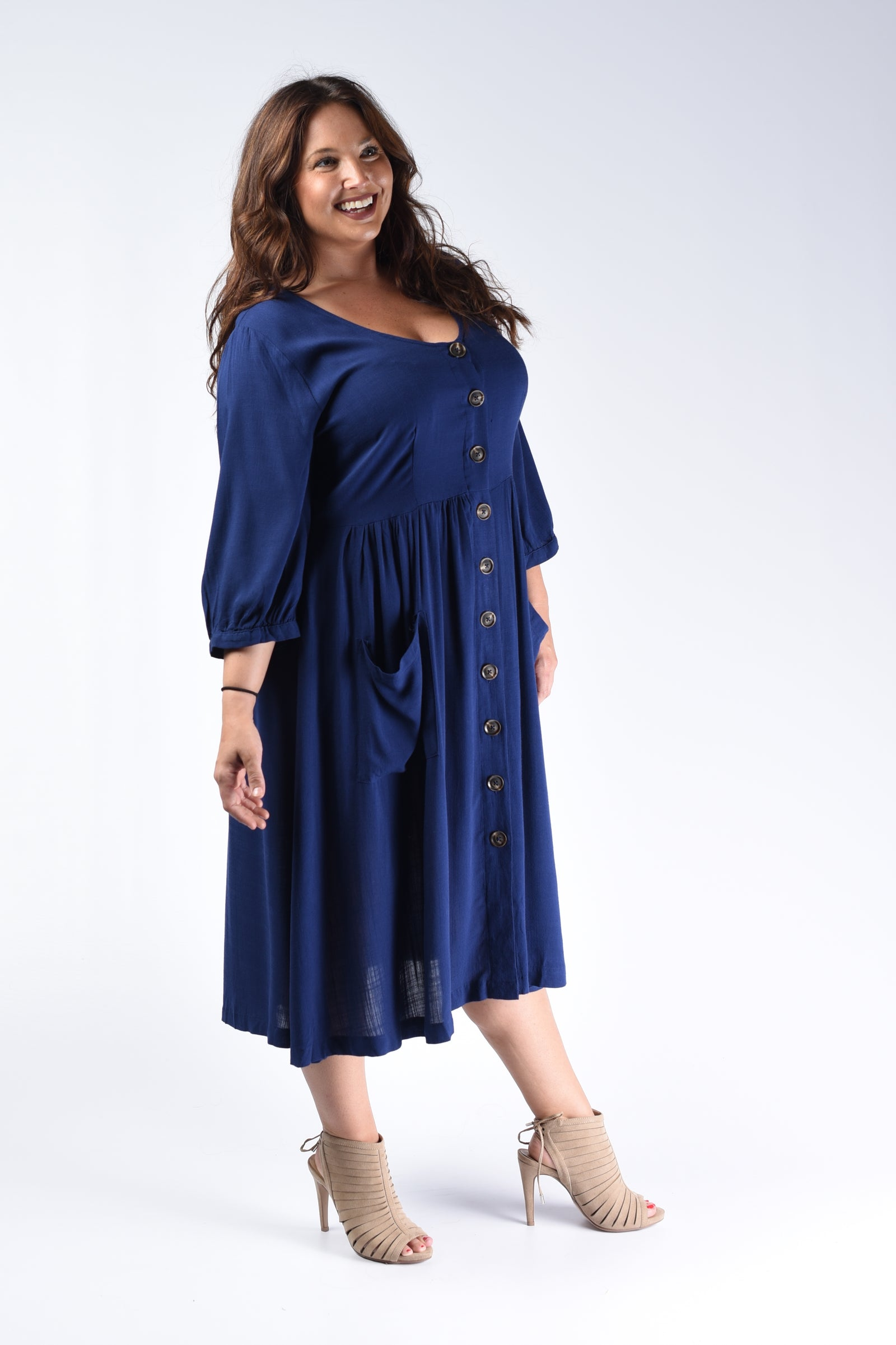 Navy Button Down Pocket Dress - www.mycurvystore.com - Curvy Boutique - Plus Size