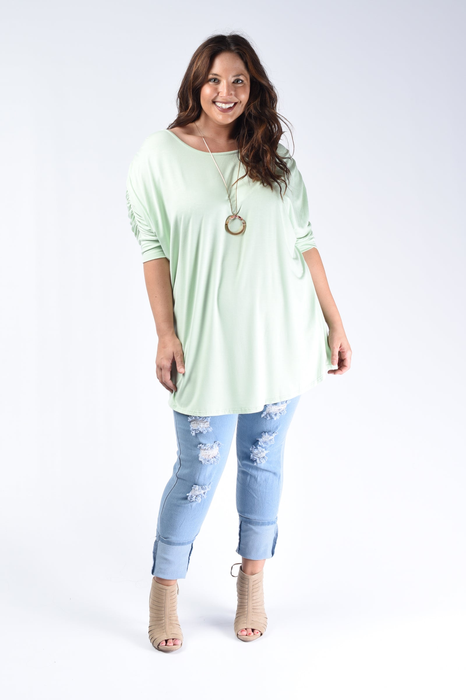 Mint Pleated Back Loose Fit Top - www.mycurvystore.com - Curvy Boutique - Plus Size