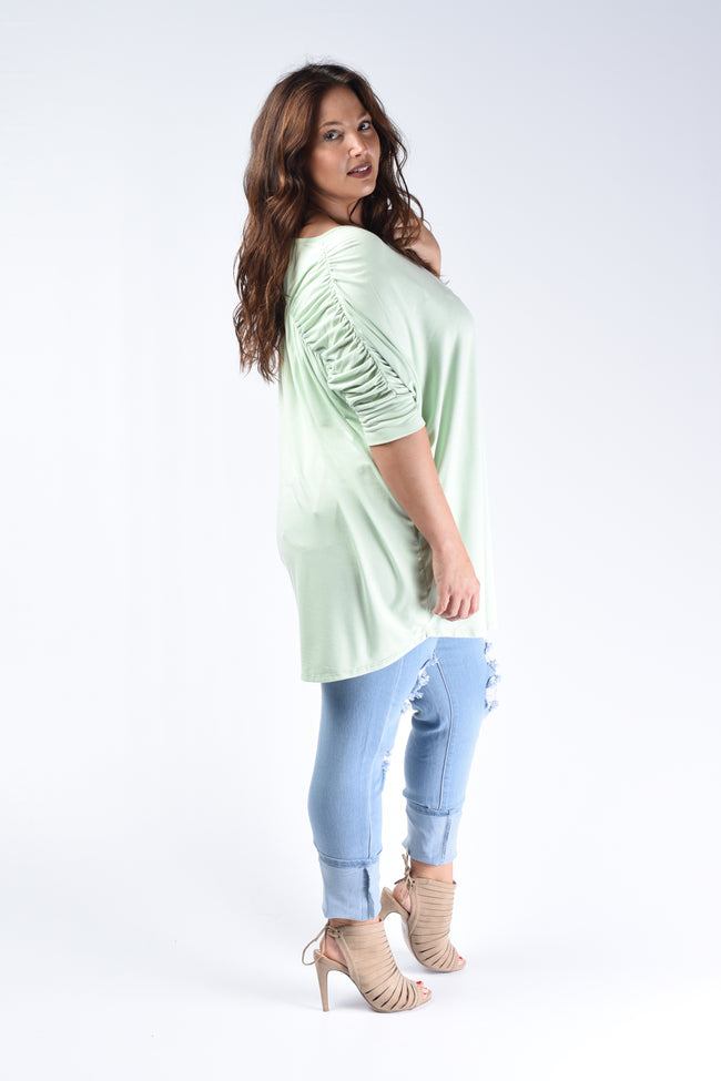 Mint Pleated Back Loose Fit Top