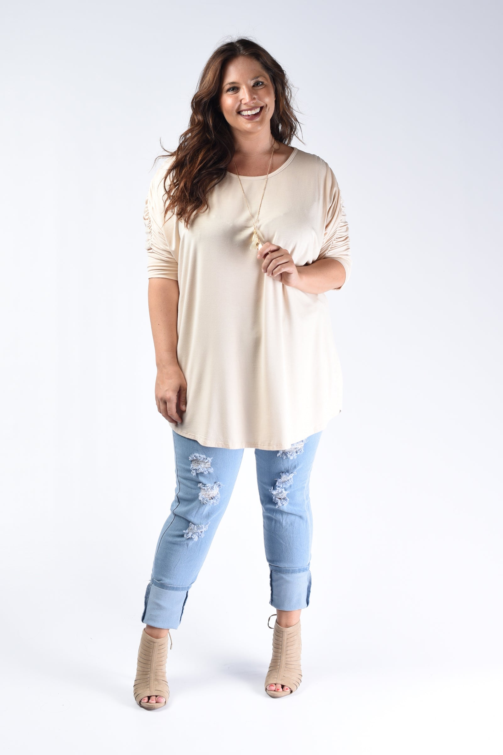 Taupe Pleated Back Loose Fit Top - www.mycurvystore.com - Curvy Boutique - Plus Size