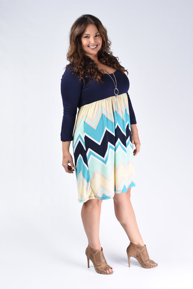 Navy Chevron Colorblock Dress - www.mycurvystore.com - Curvy Boutique - Plus Size