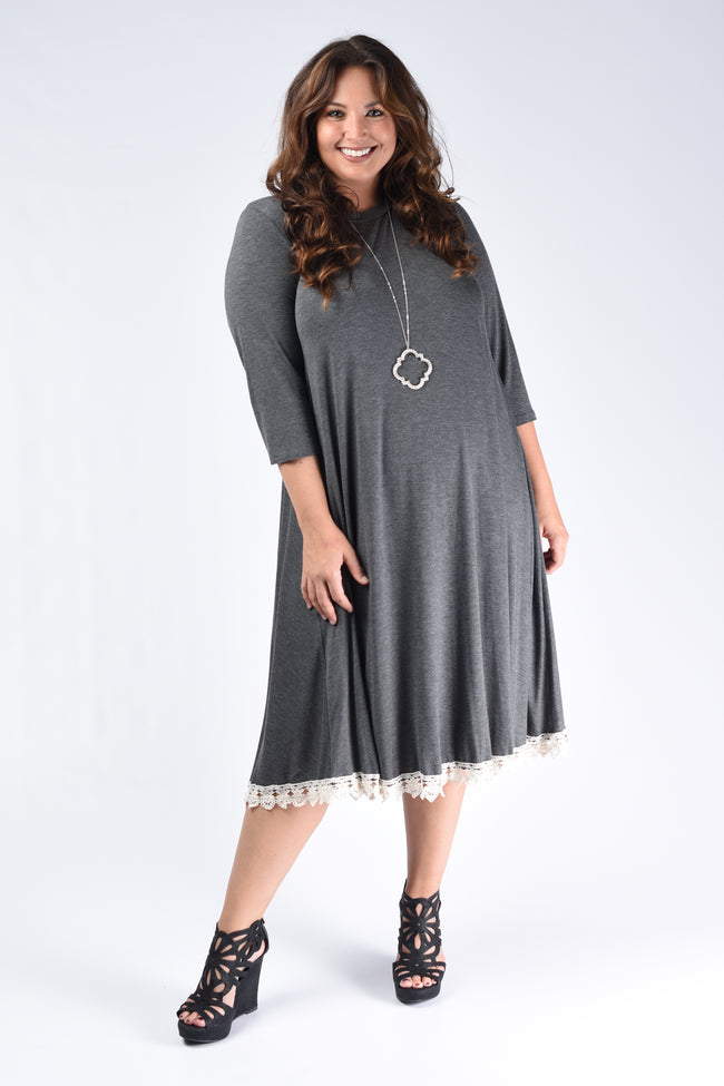 Charcoal Crochet Hem Dress - www.mycurvystore.com - Curvy Boutique - Plus Size
