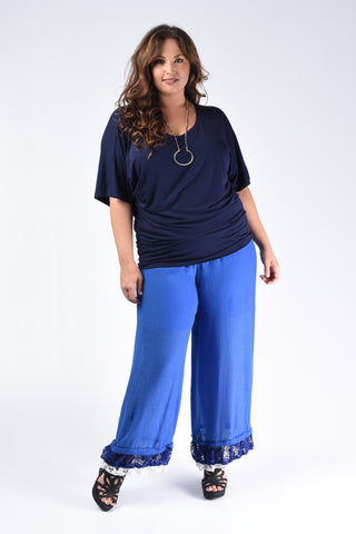 Navy Belted Wide Leg Pants