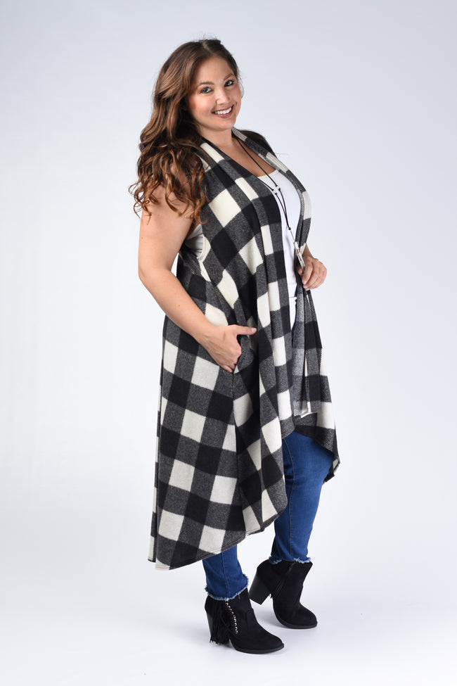 Black & Ivory Plaid Vest with Pockets - www.mycurvystore.com - Curvy Boutique - Plus Size