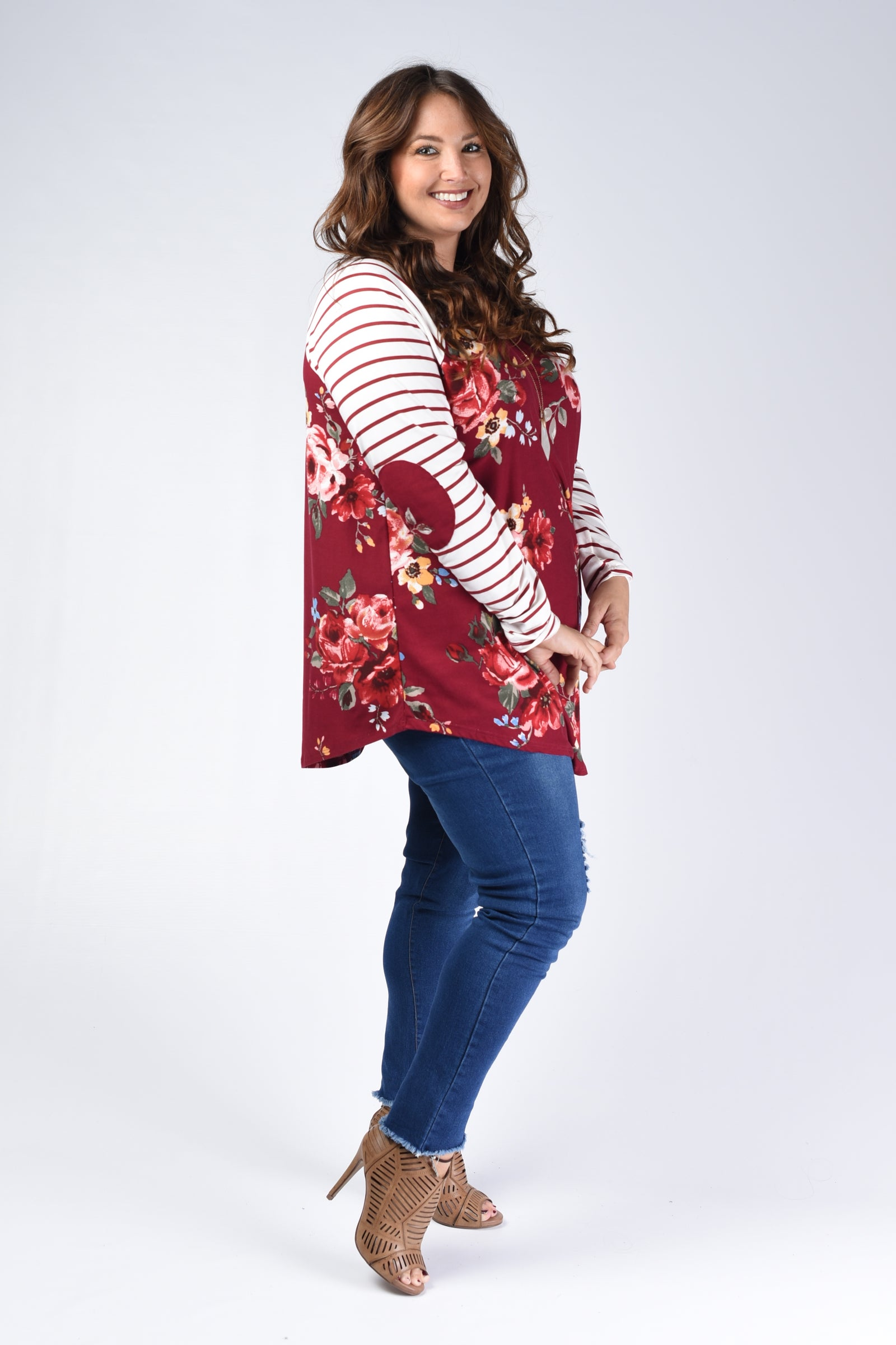Wine Floral Elbow Patch Top (Mommy & Me) - www.mycurvystore.com - Curvy Boutique - Plus Size