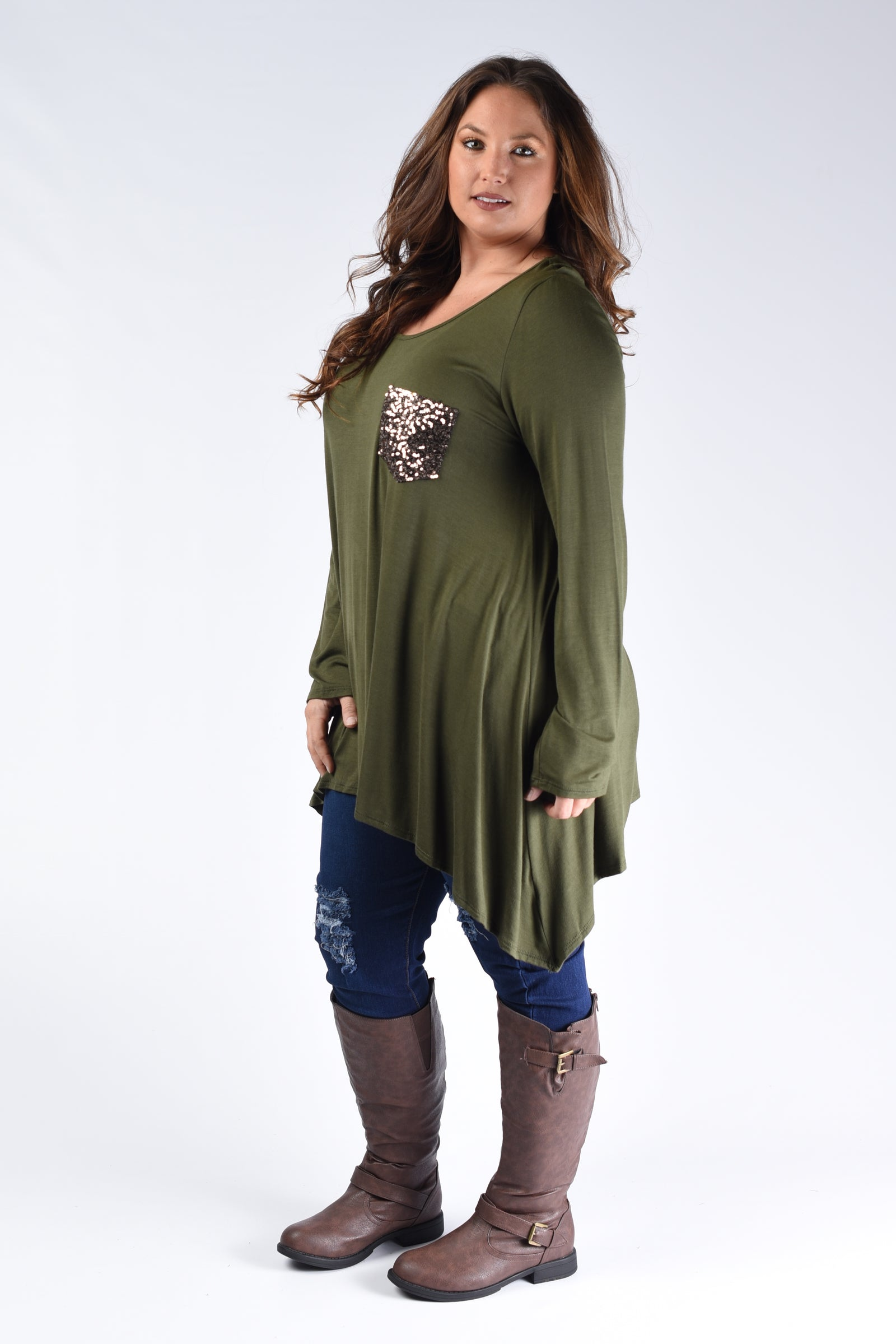 Olive Sequin Pocket Top