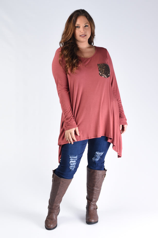 Rust Sequin Pocket Top - www.mycurvystore.com - Curvy Boutique - Plus Size