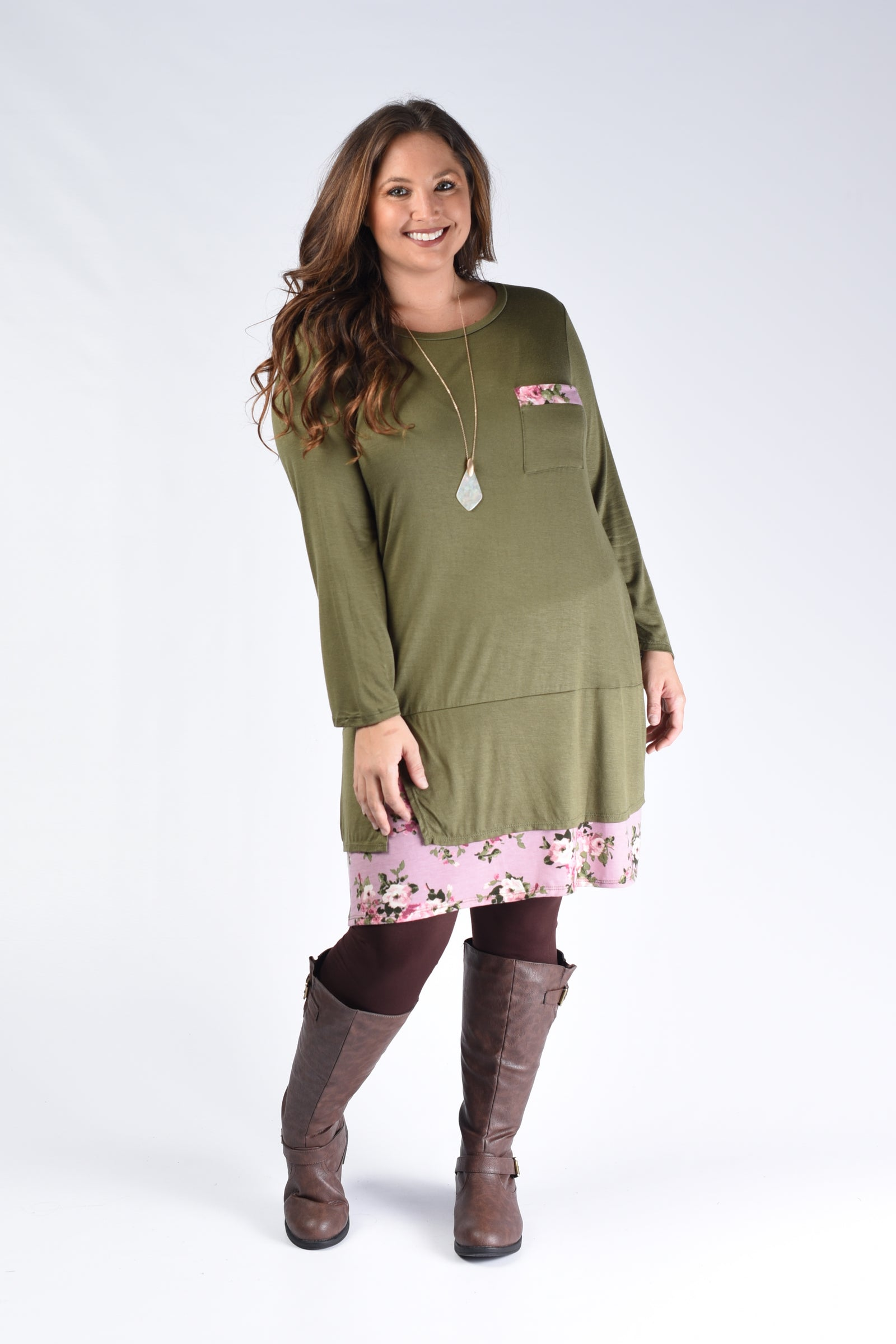 Olive & Pink Hem Pocket Dress