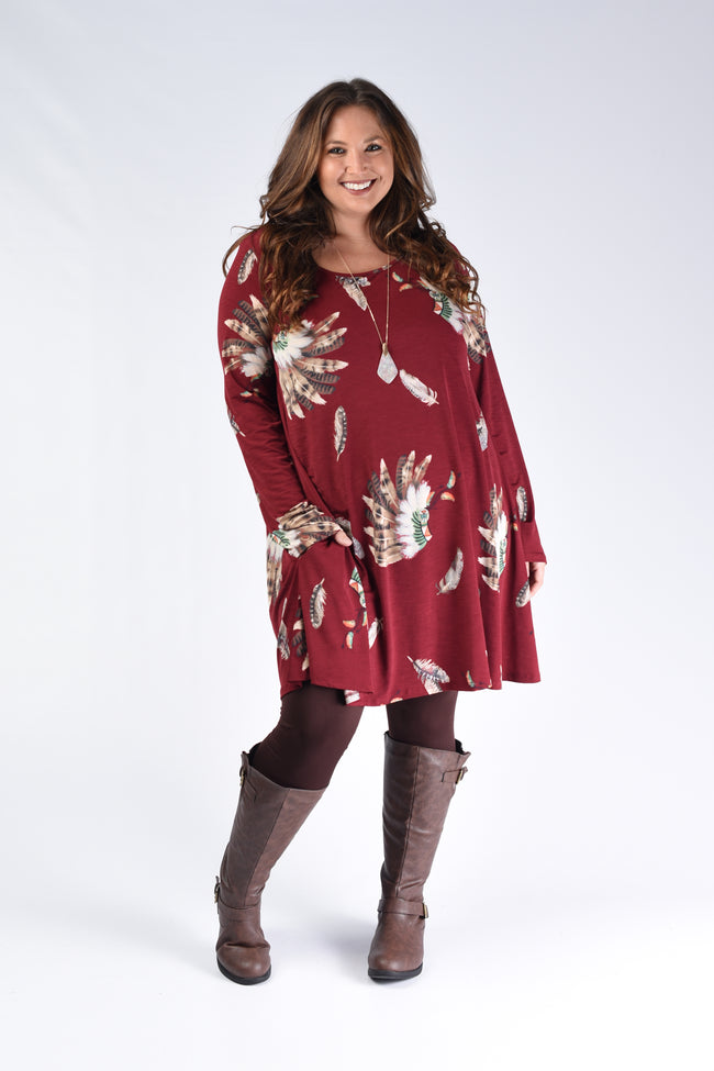 Burgundy Feather Swing Dress - www.mycurvystore.com - Curvy Boutique - Plus Size