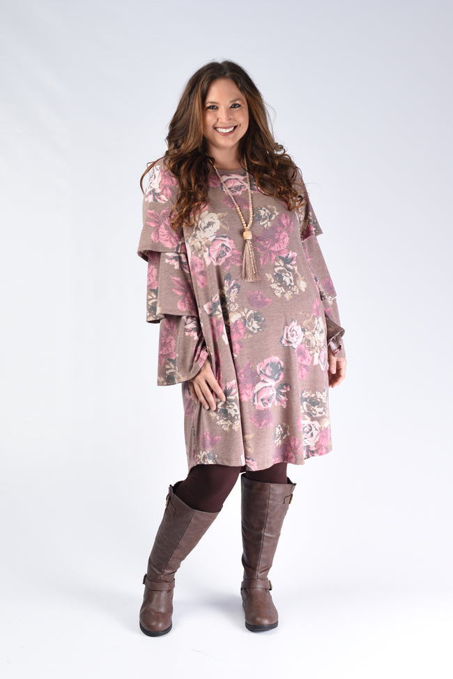 Cinnamon Floral Layered Sleeve Dress - www.mycurvystore.com - Curvy Boutique - Plus Size
