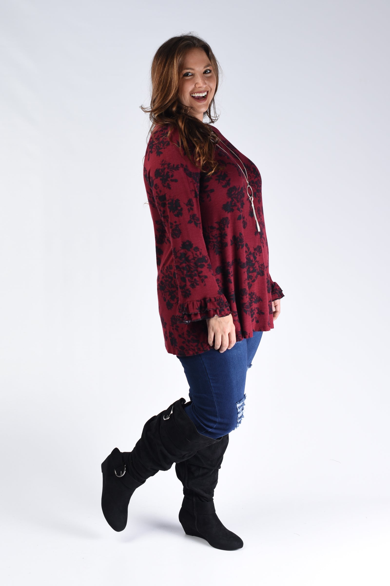 Wine Floral Top - www.mycurvystore.com - Curvy Boutique - Plus Size