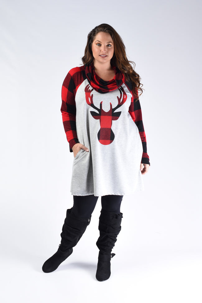 Red & Black Plaid Deer Tunic - www.mycurvystore.com - Curvy Boutique - Plus Size