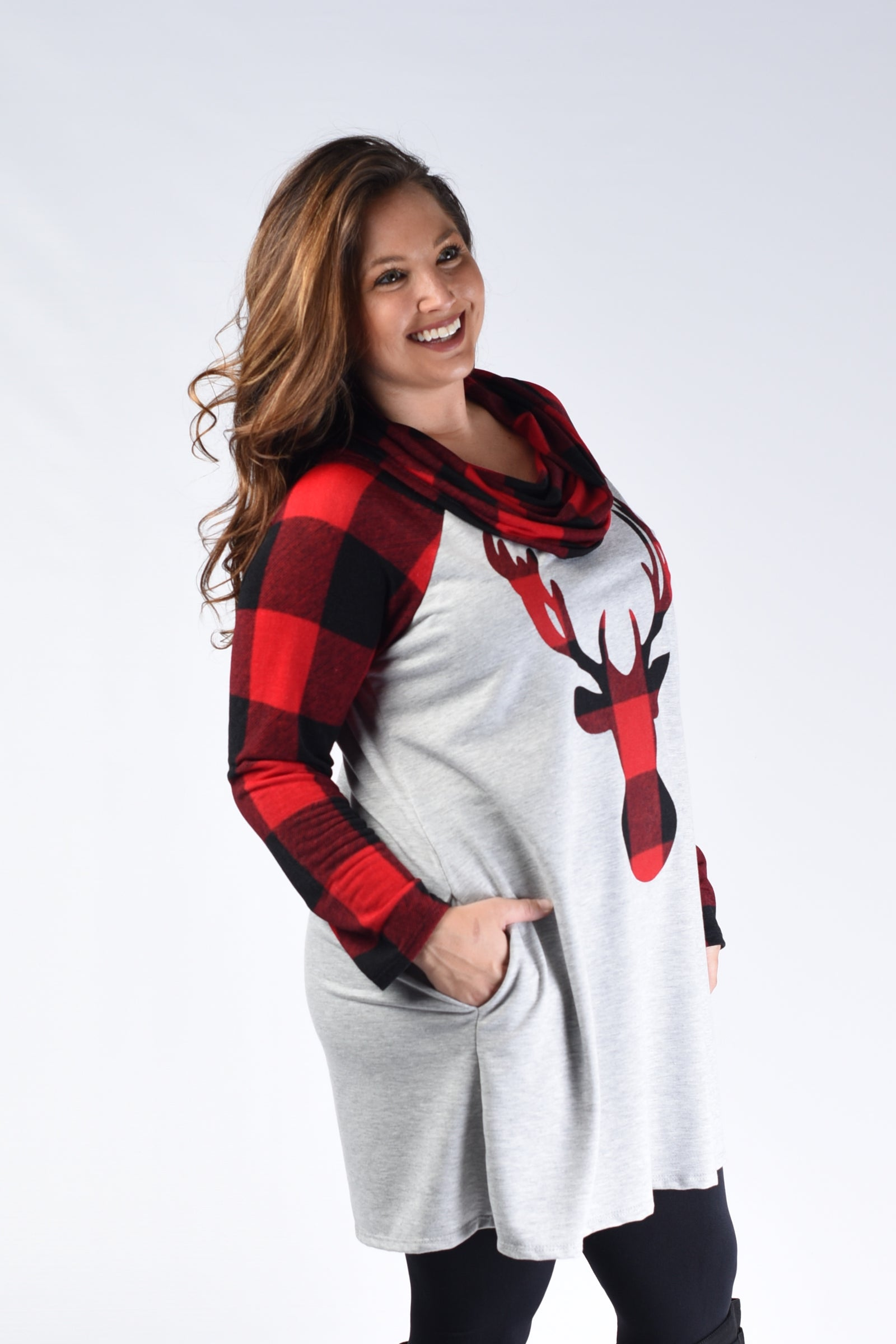 Red & Black Plaid Deer Tunic