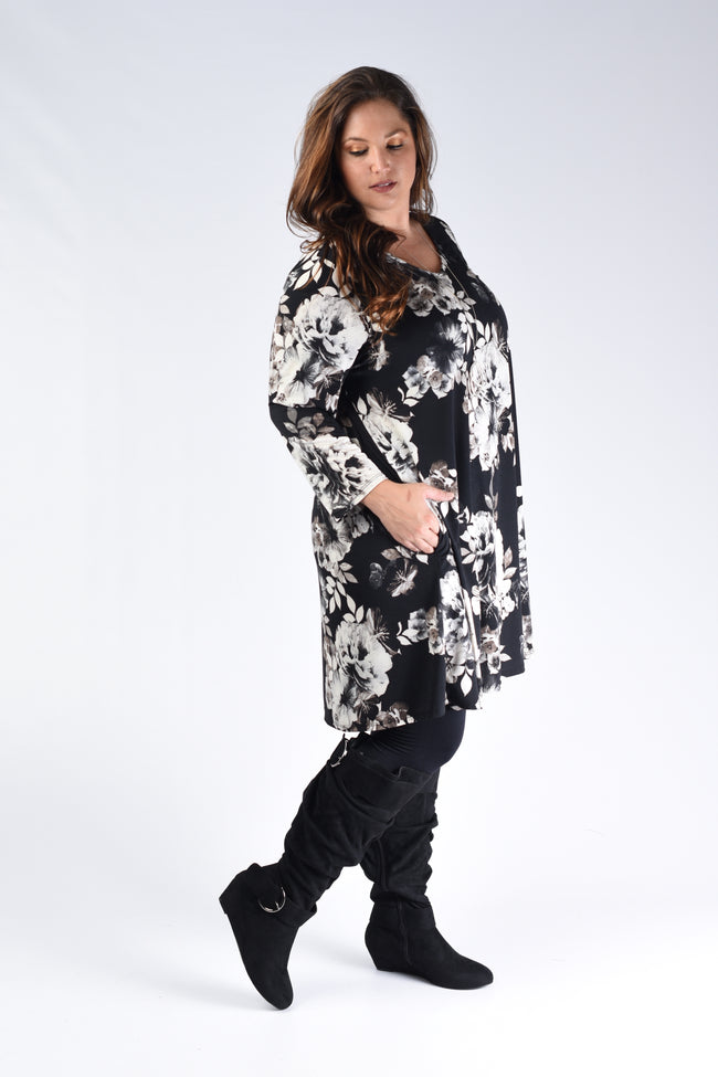 Black & White Floral Dress - www.mycurvystore.com - Curvy Boutique - Plus Size