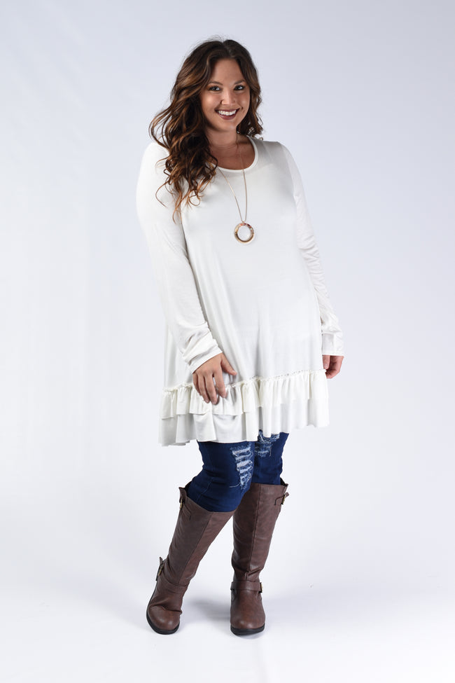 Ivory Layer Hem Solid Top - www.mycurvystore.com - Curvy Boutique - Plus Size