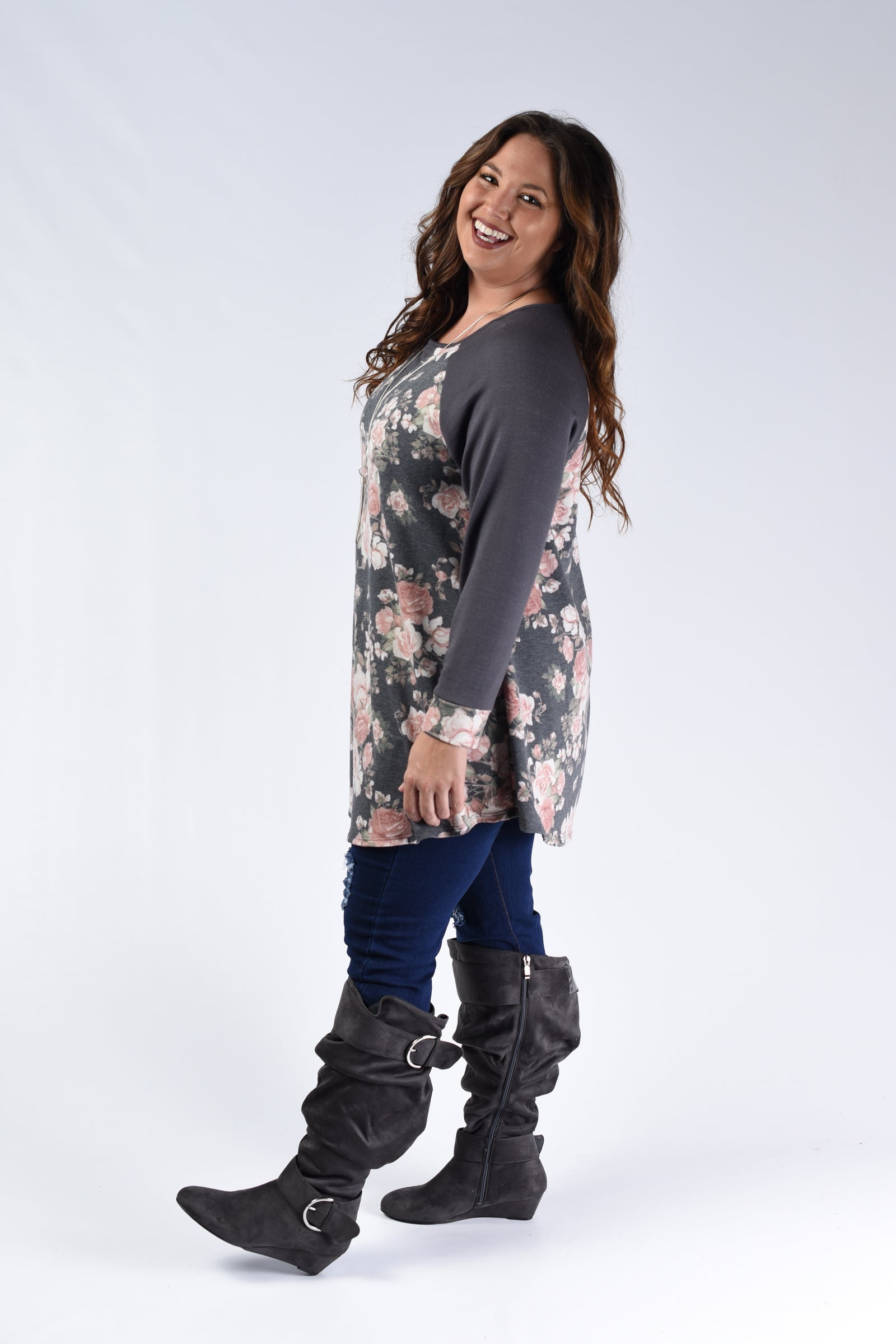 Charcoal Floral Top - www.mycurvystore.com - Curvy Boutique - Plus Size