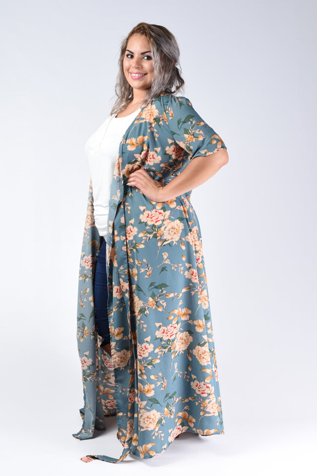 Blue Floral Long Cardigan - www.mycurvystore.com - Curvy Boutique - Plus Size