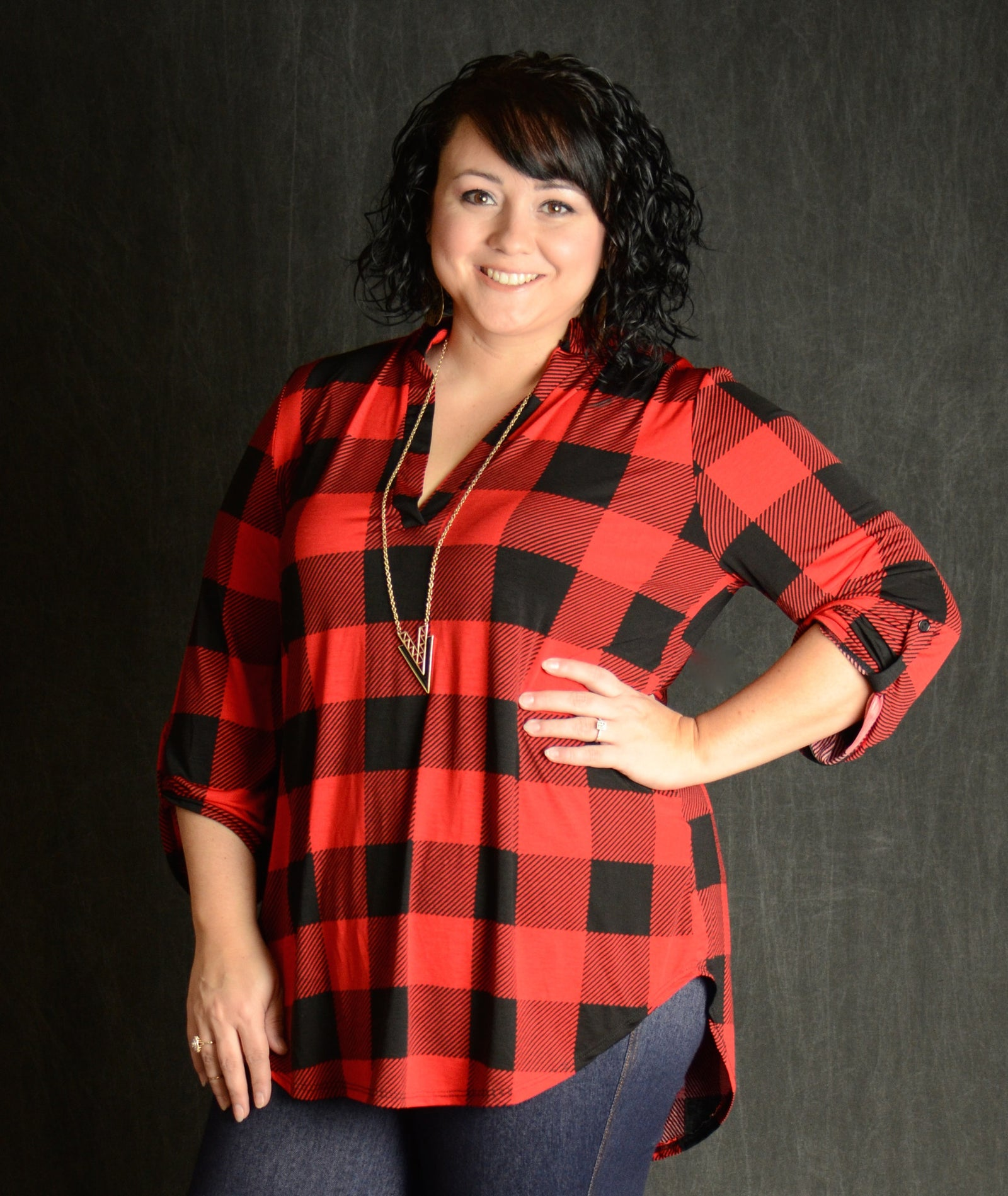 Red & Black Button Sleeve Checker Top - Curvy Plus Size Boutique - 2