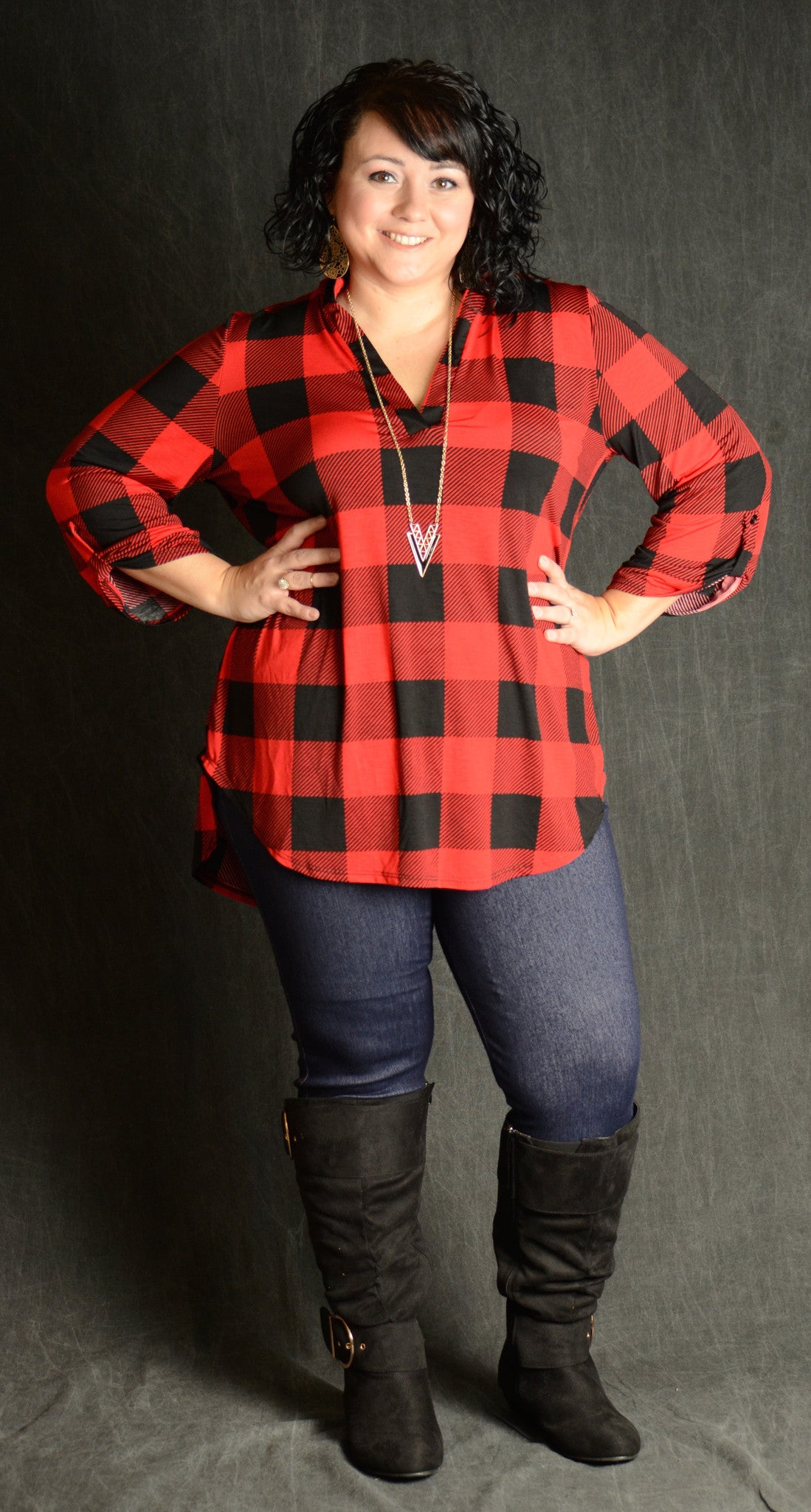 Red & Black Button Sleeve Checker Top - Curvy Plus Size Boutique - 1