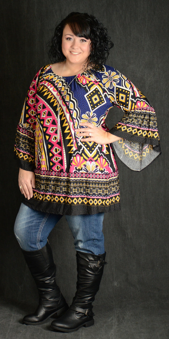 Multicolor Geometric Tunic Top - www.mycurvystore.com - Curvy Boutique - Plus Size