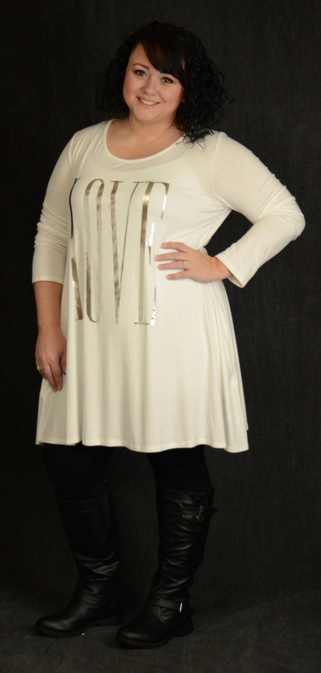 Oversized Ivory Love Pocket Dress - www.mycurvystore.com - Curvy Boutique - Plus Size