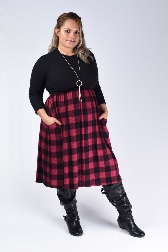 Red & Black Plaid Checker Tie Dress