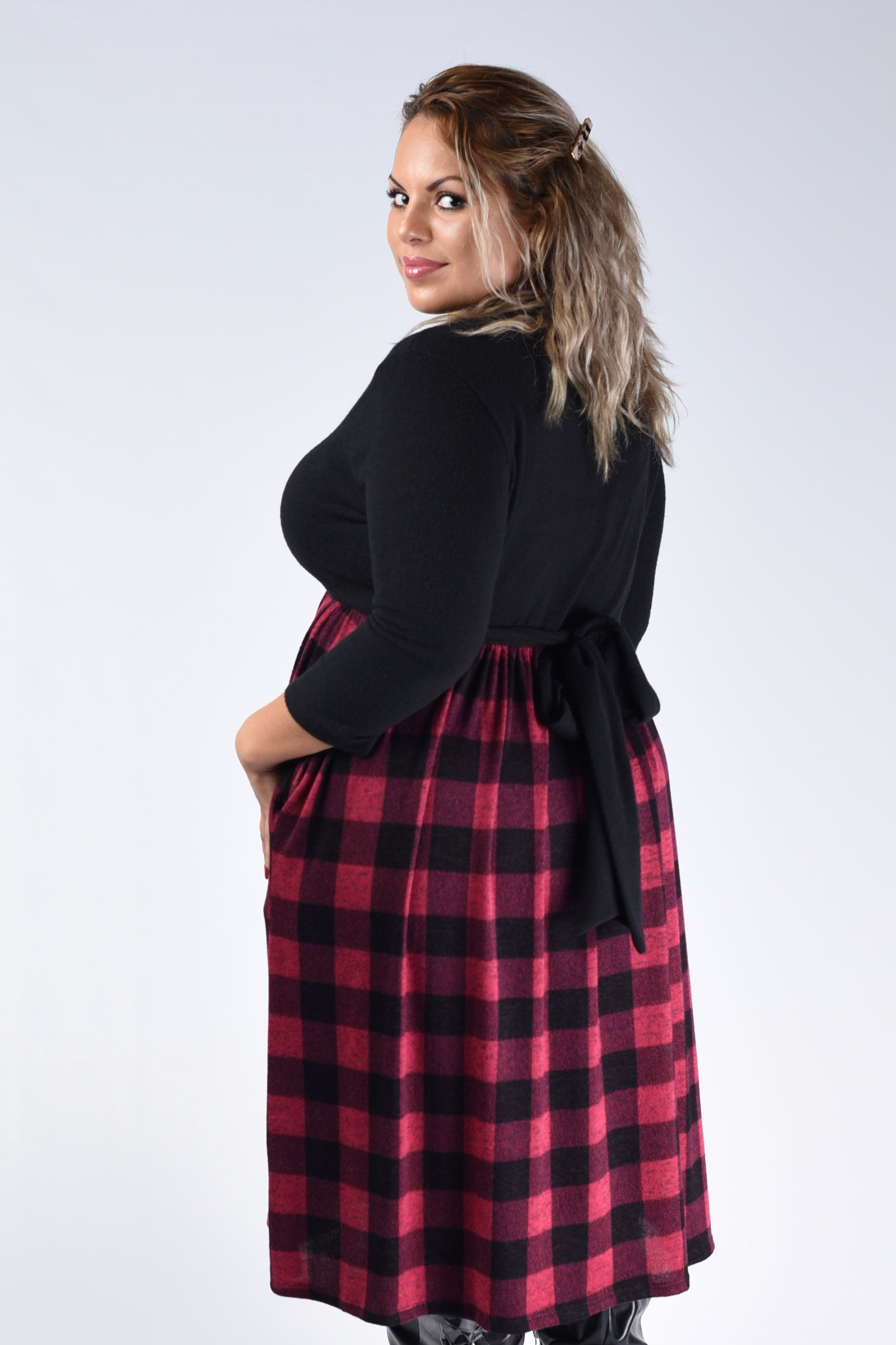 Red & Black Plaid Checker Tie Dress - www.mycurvystore.com - Curvy Boutique - Plus Size