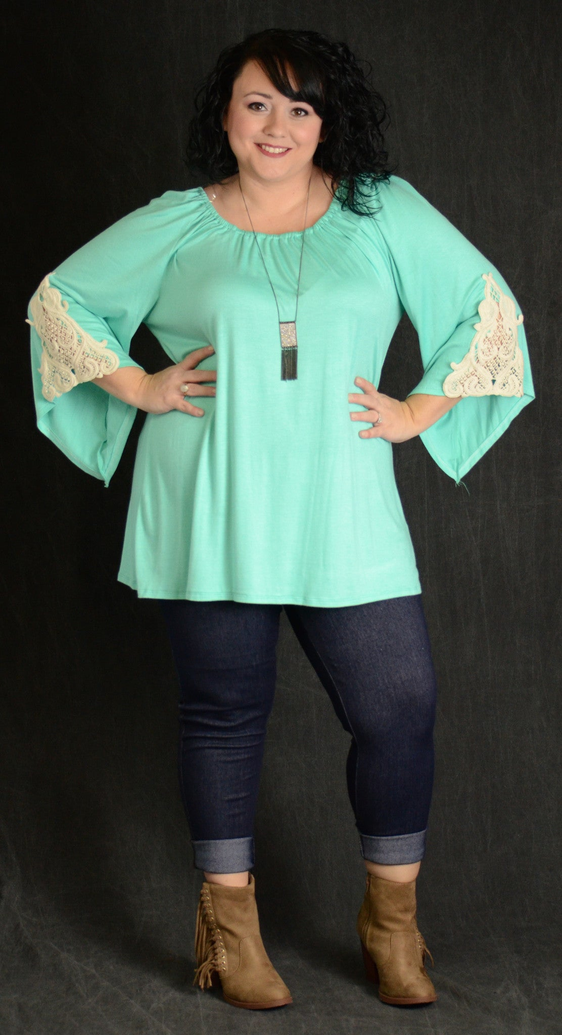 Mint Lace Sleeve Tunic - www.mycurvystore.com - Curvy Boutique - Plus Size