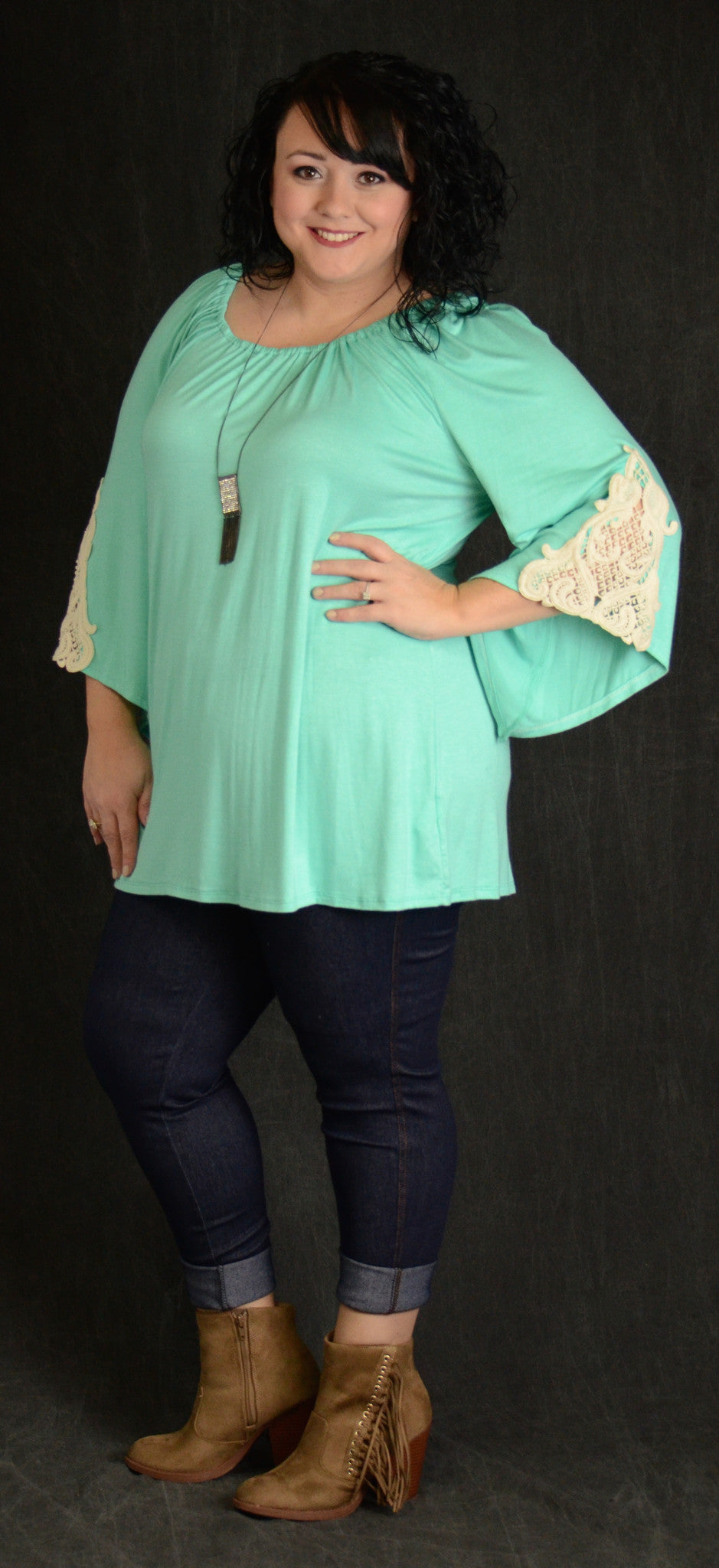 Mint Lace Sleeve Tunic - www.mycurvystore.com - Curvy Boutique