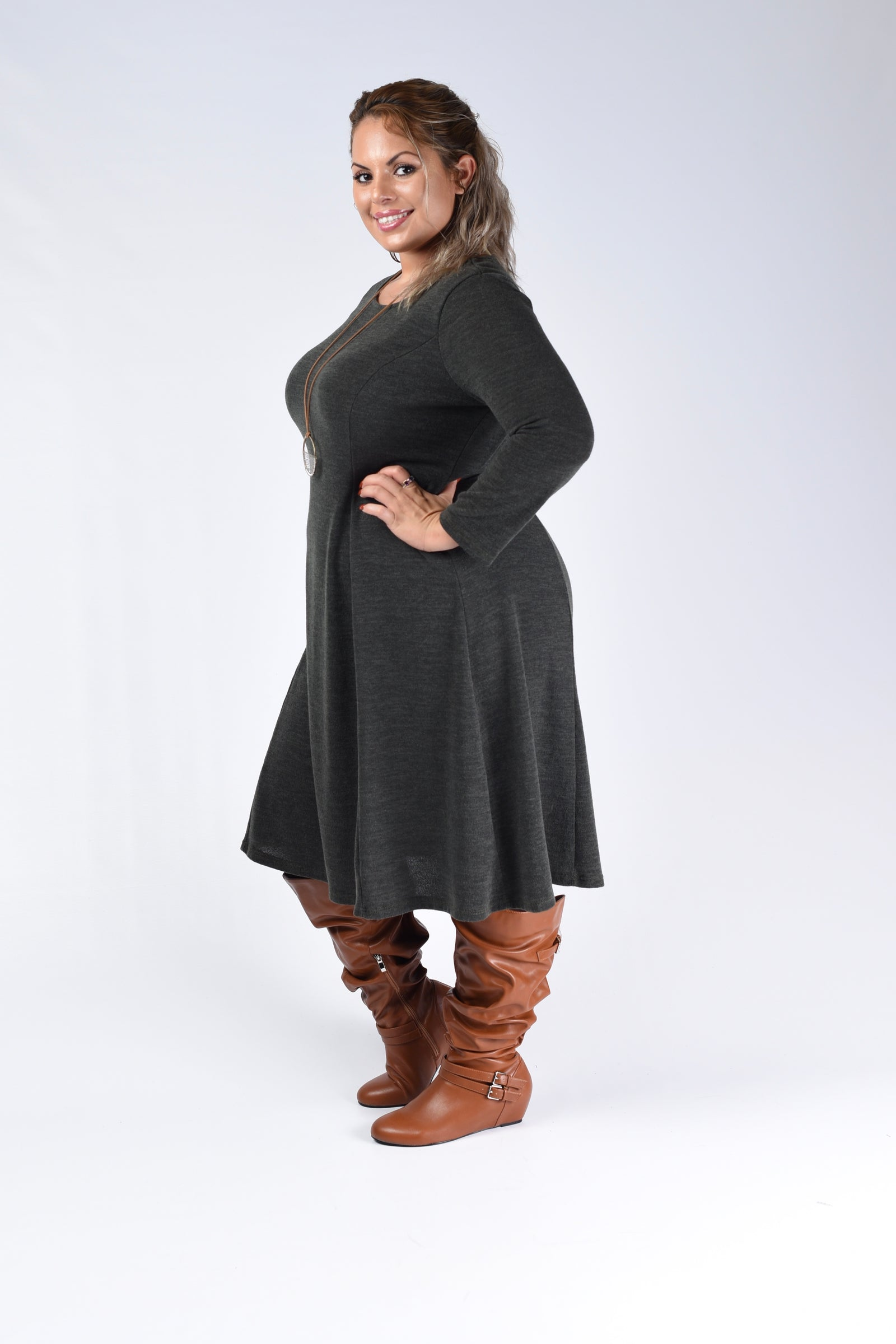 Olive Midi Flare Dress - www.mycurvystore.com - Curvy Boutique - Plus Size