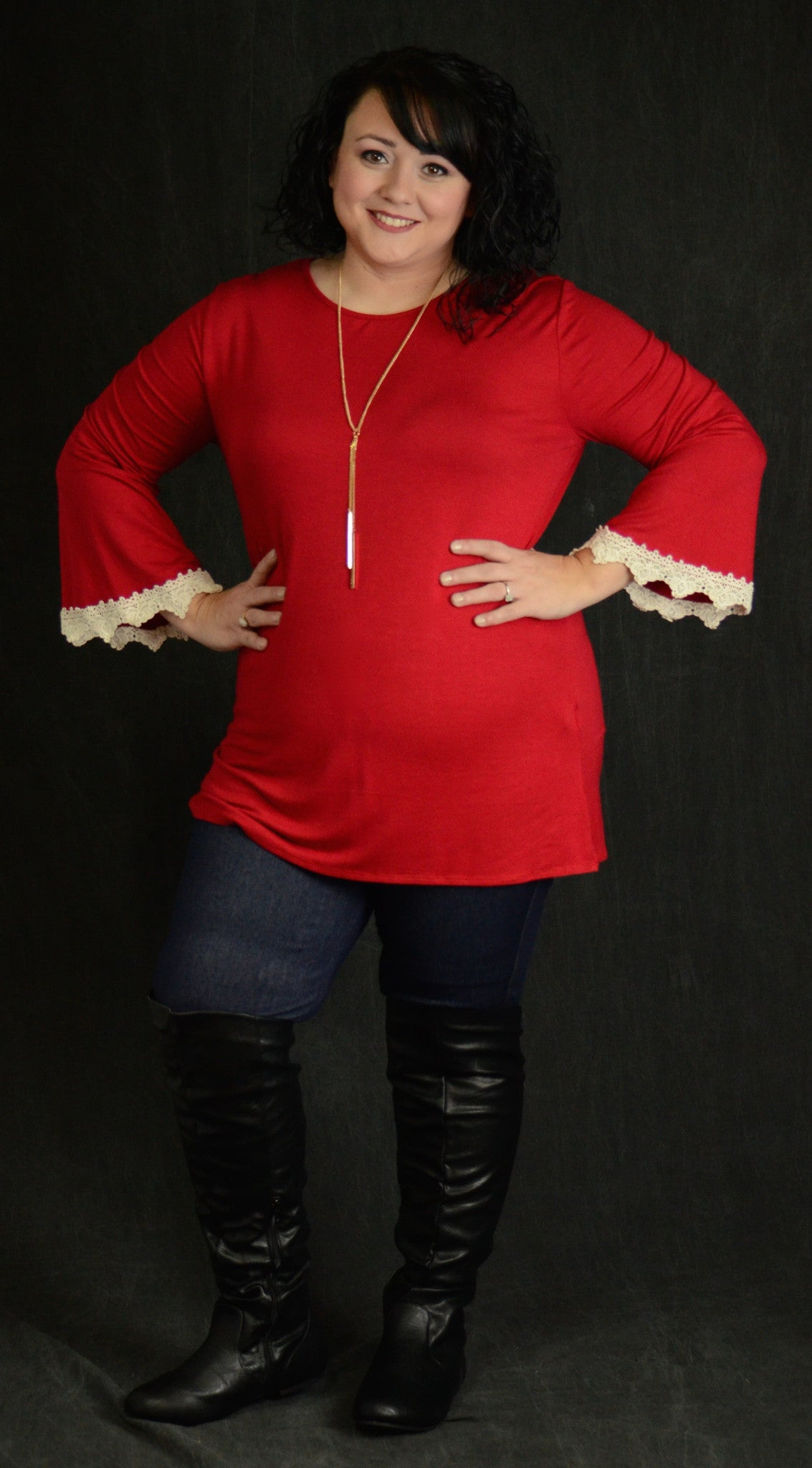 Red Crochet Cuff Top - www.mycurvystore.com - Curvy Boutique - Plus Size