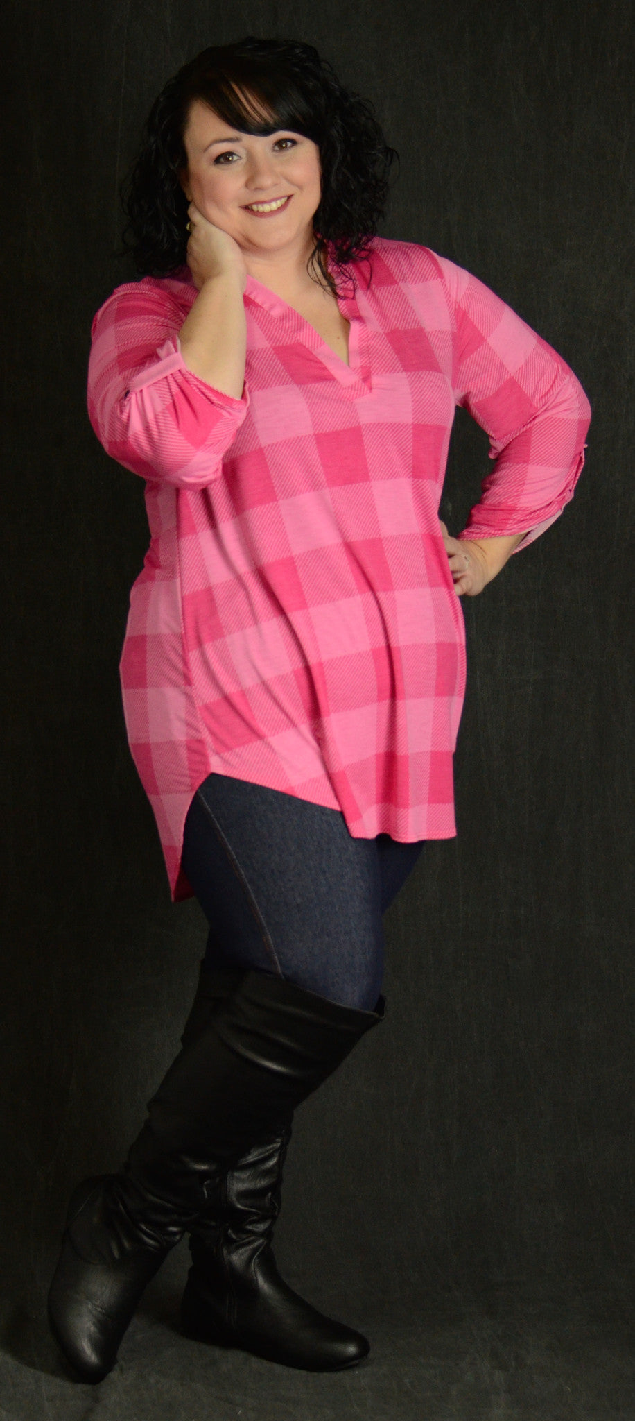 Pink Checker V-Neck Top - www.mycurvystore.com - Curvy Boutique - Plus Size