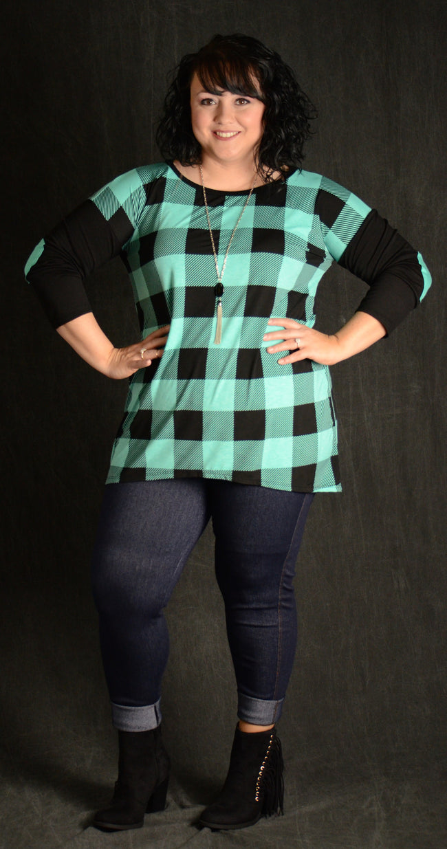 Aqua & Black Checker Top - www.mycurvystore.com - Curvy Boutique - Plus Size