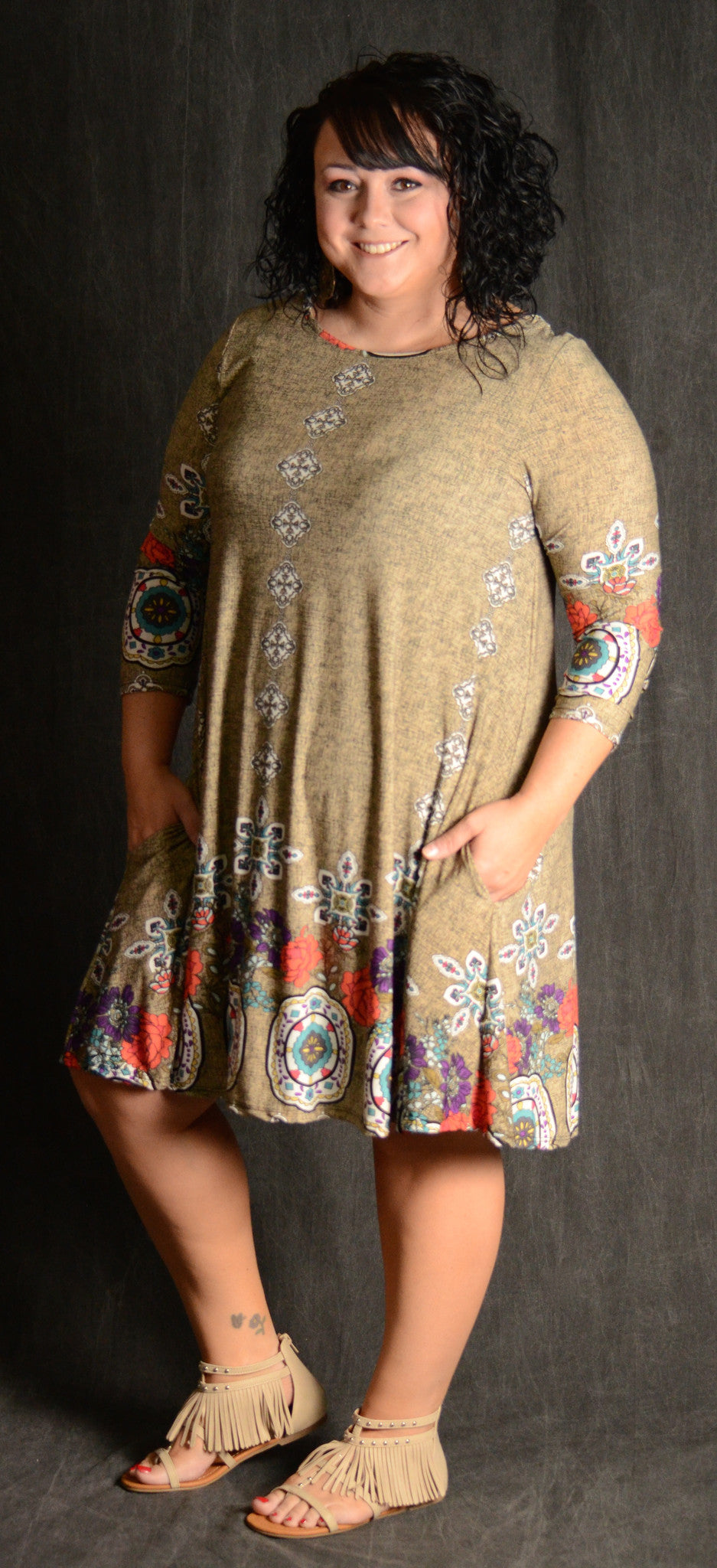 Taupe Border Print Dress - www.mycurvystore.com - Curvy Boutique - Plus Size